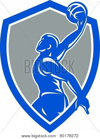 Basketball Player Dunk Ball Shield Retro