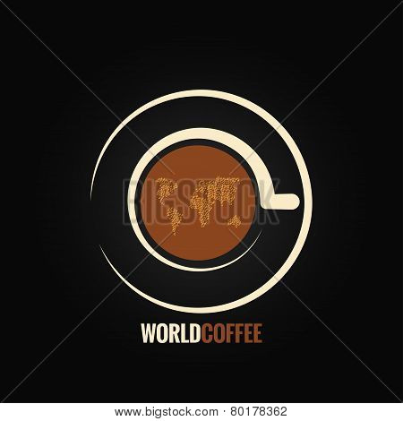 coffee cup world map background