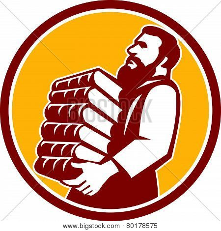 Saint Jerome Carrying Books Retro