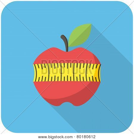 Red Apple With Measuring Tape Icon