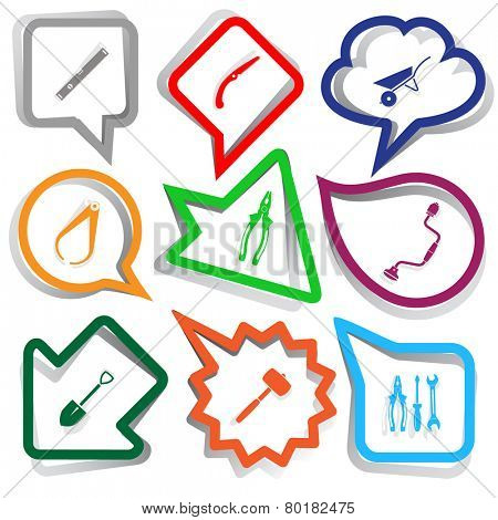 Industrial tools set. Paper stickers. Vector illustration.