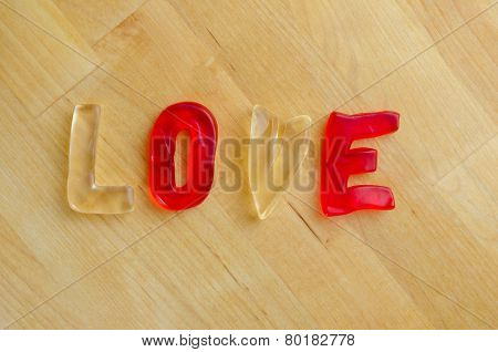 Love In Gummy Letters