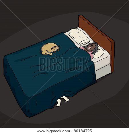 Person Hiding Under Bed