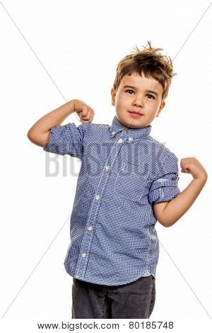 little boy in pose, a symbol of self-esteem, childhood, lightheartedness
