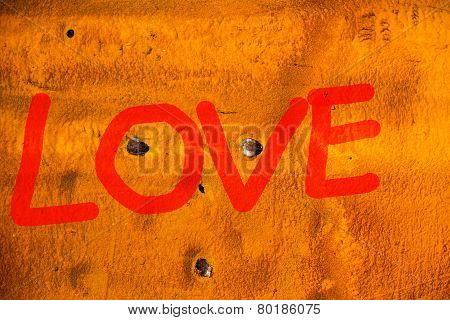 Red Word Love (uppercase) On Old Containers