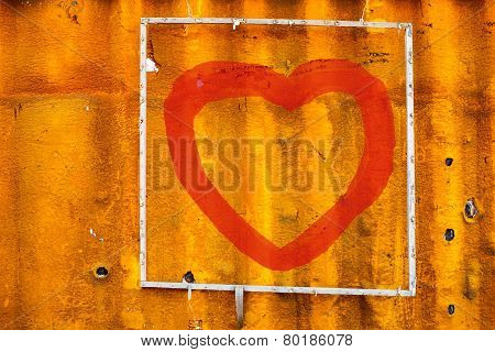Draw Heart On Old Containers Background