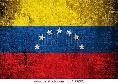 Venezuelan flag on wood texture background