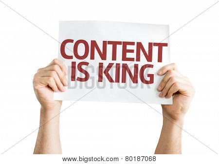 Content is King card isolated on white background
