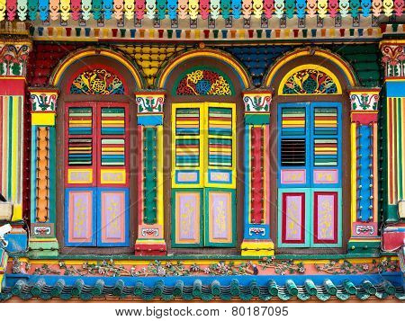 Colorful Facade Of Famous Building In Little India, Singapore