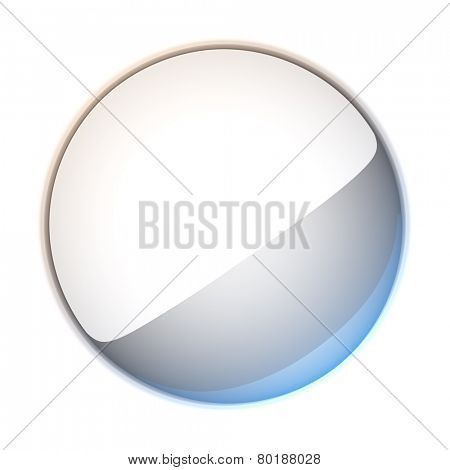 3d illustration blank template layout of empty white badge. Badge surface empty to place your text or logo.