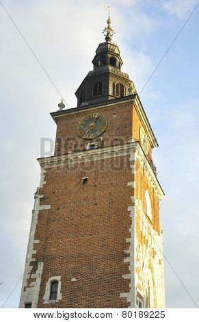 Tower Town Hall of city center of Krakow in Poland