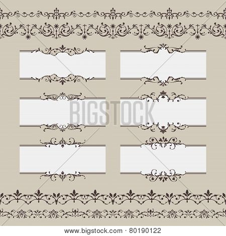 Vintage Vector Frame Border Set