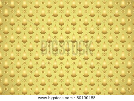 Gold Retro Flower And Candlestick Pattern On Pastel Background