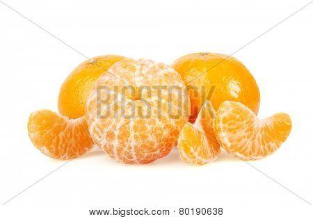 Tangerine or Mandarin Fruit, isolated on white background