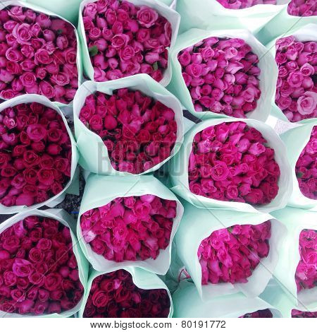 Pink roses at the flowers wholesale market