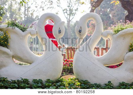 Two Swans In Love With Swan Flower Pot