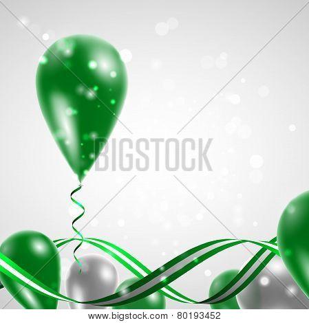 Flag of the Libyan Arab Jamahiriya on balloon