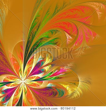 Diagonal Symmetric Multicolor Fractal Tracery. Collection - Frosty Pattern. On Beige.