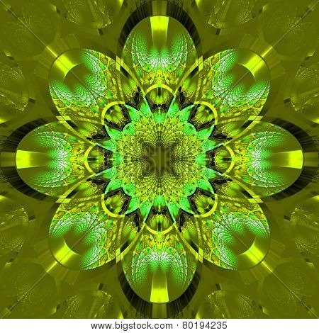 Symmetrical Fractal Pattern With Shiny Strips. Collection -  Rhinestones. On Olive Background.