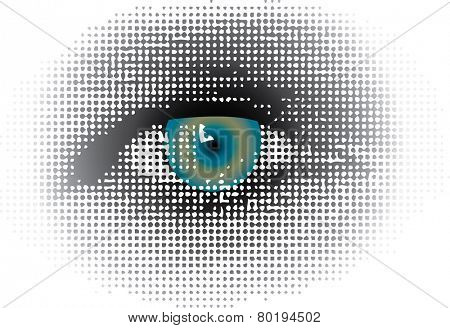 vector dotted halftone raster blue eye