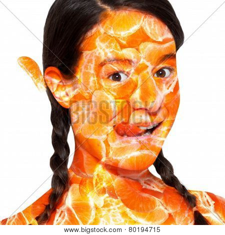 The fruit woman. Portrait of a woman with orange skin.