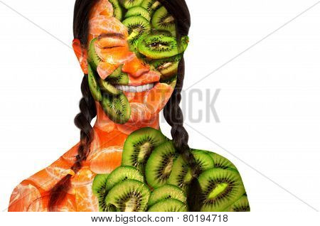 The fruit woman. Portrait of a woman with kiwi and orange skin.