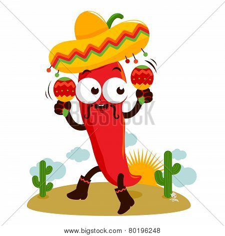 Mariachi chili pepper with maracas
