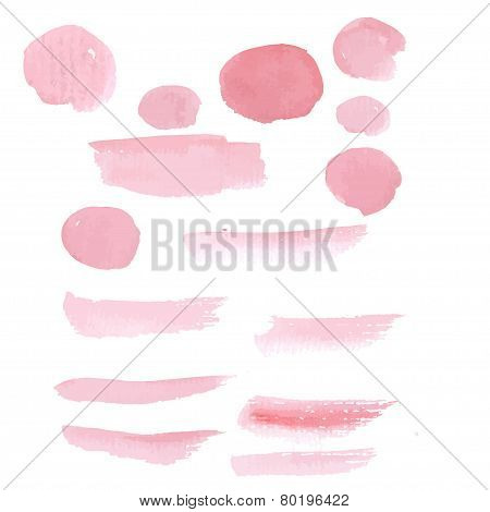 Hand drawn pink paint brushstroke watercolor