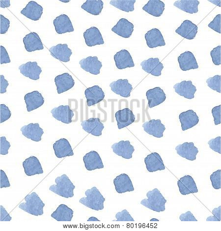 Blue hand drawn watercolor brushstroke seamless pattern.