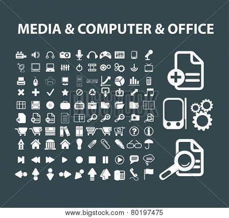 media, computer, pc, document, office icons, signs, illustrations on background, vector set