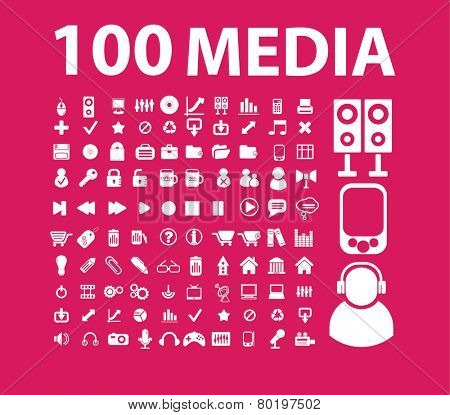 100 media, video, audio, music, movie icons, signs, illustrations on background, vector set