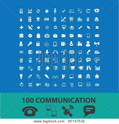 100 communication, connection, network icons, signs, illustrations on background, vector set