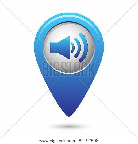 Blue map pointer with speaker volume icon