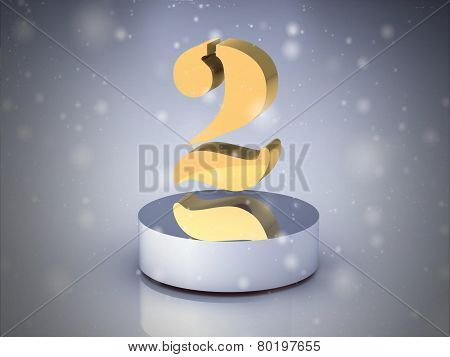 The Number 2 - Gold (high Resolution 3D Image)