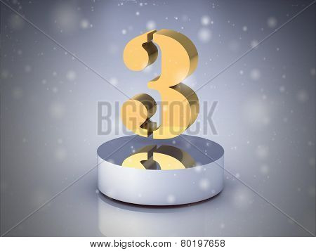 The Number 3 - Gold (high Resolution 3D Image)