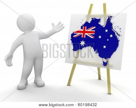 Man and Australian map (clipping path included)