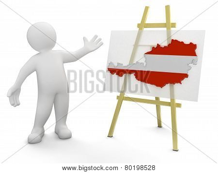 Man and Austrian map (clipping path included)
