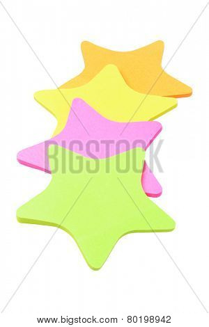 Colorful Star Shape Paper Stickers Arranged On White Background