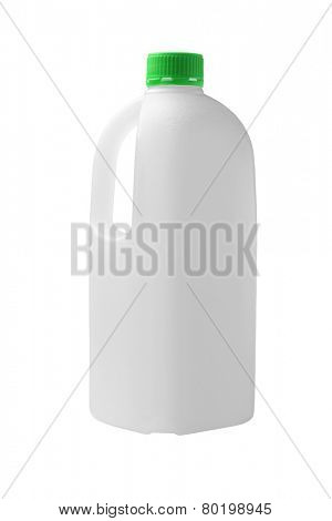 Empty Plastic Container For Fruit Juice On White Background