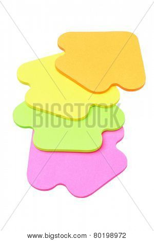 Colourful Arrow Shape Paper Stickers On White Background
