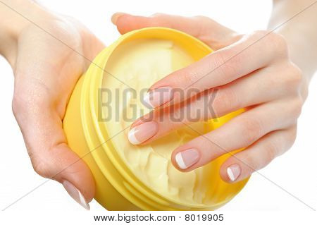 Beautiful Hands With Perfect Nail French Manicure And Moisturizing Cream. Isolated On White Backgrou