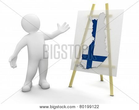 Man and Finnish map (clipping path included)
