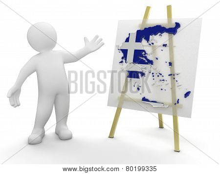 Man and Greek map (clipping path included)