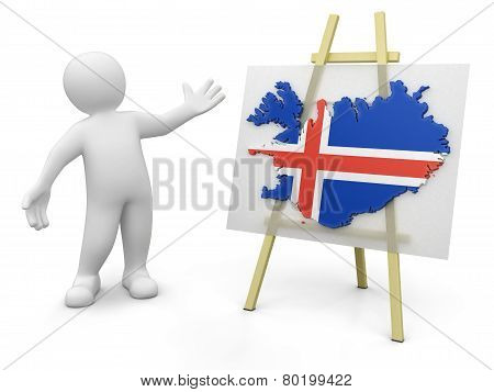 Man and Icelandic map (clipping path included)