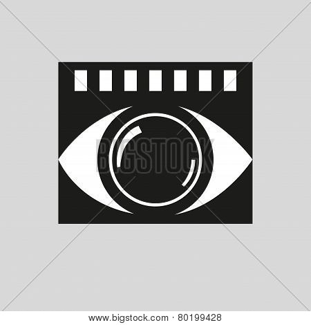 Stylized Camera In The Form Of The Eye. Background Film. Vector Icon.