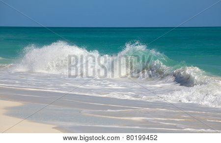 Bustling Caribbean Sea. Playa los Cocos. Cayo Largo. Cuba.