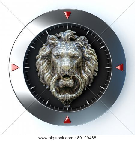 3D rendering of a dial with a retro lion head in the center