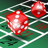 stock photo of roulette table  - Two red dice with shadow on green roulette table illustration vector - JPG