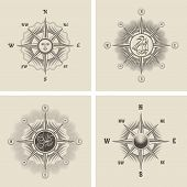 image of wind-rose  - Set the wind rose in old retro style - JPG