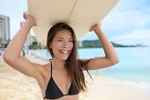 image of hawaiian girl  - Portrait of surfer woman on Waikiki Beach - JPG